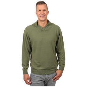 Cashmerelike Herren-Pullover Schalkragen, khaki