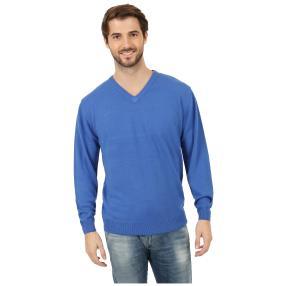Cashmerelike Herren-Pullover V-Ausschnitt, blau