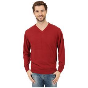 Cashmerelike Herren-Pullover V-Ausschnitt, weinrot