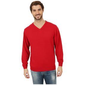 Cashmerelike Herren-Pullover V-Ausschnitt, rot