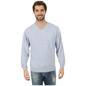 Cashmerelike Herren-Pullover V-Ausschnitt hellblau