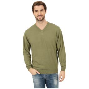 Cashmerelike Herren-Pullover V-Ausschnitt khaki
