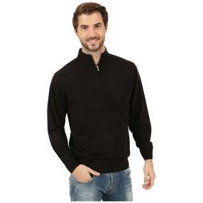 Cashmerelike Herren-Pullover Stehkragen schwarz