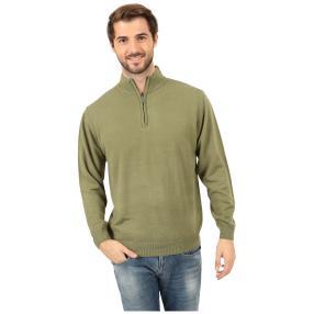 Cashmerelike Herren-Pullover Stehkragen khaki