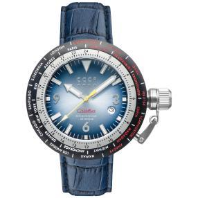 """CCCP Herren-Automatikuhr """"Russia Timezone"""" blau"""