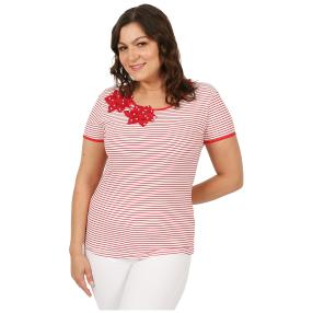 Damen-Shirt 'Lady Stripe'  weiß/rot