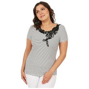 Damen-Shirt 'Chic in Stripe'  weiß/marine