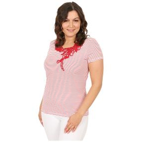 Damen-Shirt 'Chic in Stripe'  weiß/rot