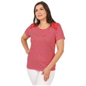 Damen-Shirt 'Lace & Stripes'  rot/weiß