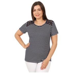 Damen-Shirt 'Lace & Stripes'  marine/weiß