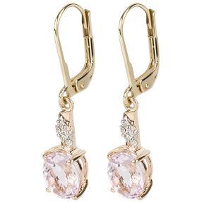 Ohrhänger 375 Gelbgold, Kunzit + Diamanten