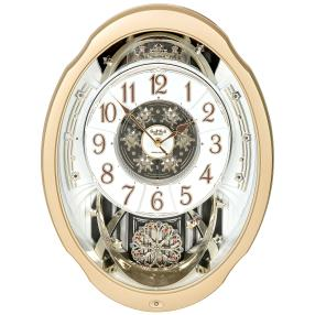 RHYTHM Wanduhr MAGIC MOTION, 18 Melodien, gold