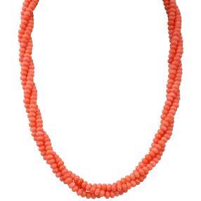 Korallen Collier 3-reihig 925 Silber Bambuskoralle