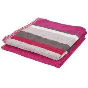 Duschtuch, 2er-Set,  pink, 70x140cm