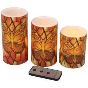 LED-Kerzen Schmetterlinge, 3er Set