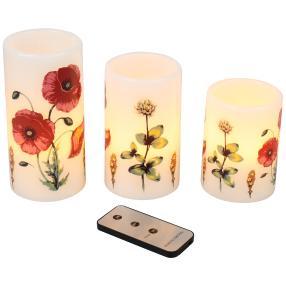 LED-Kerzen Mohnblumen, 3er Set
