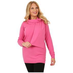 Cashmerelike Damen-Longpullover mit Schal pink