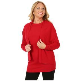 Cashmerelike Damen-Longpullover mit Schal rot