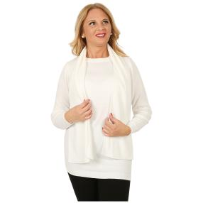 Cashmerelike Damen-Longpullover mit Schal creme