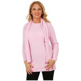 Cashmerelike Damen-Longpullover mit Schal rosé