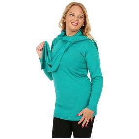 Cashmerelike Damen-Longpullover mit Schal smaragd