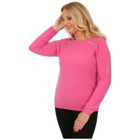 Cashmerelike Damen-Pullover Zierknöpfe pink