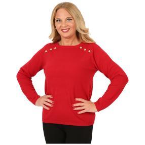 Cashmerelike Damen-Pullover Zierknöpfe rot