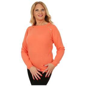 Cashmerelike Damen-Pullover Zierknöpfe koralle