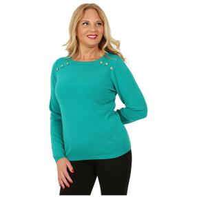 Cashmerelike Damen-Pullover Zierknöpfe smaragd