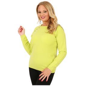 Cashmerelike Damen-Pullover Zierknöpfe hellgrün