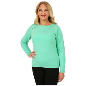 Cashmerelike Damen-Pullover Zierknöpfe mint