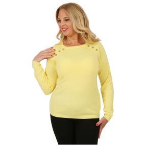 Cashmerelike Damen-Pullover Zierknöpfe hellgelb