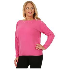 Cashmerelike Damen-Pullover U-Boot-Kragen pink