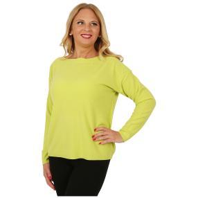 Cashmerelike Damen-Pullover U-Boot-Kragen hellgrün
