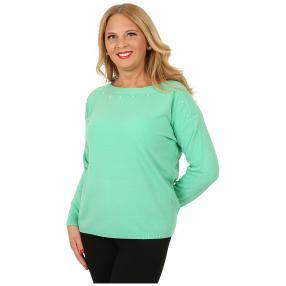 Cashmerelike Damen-Pullover U-Boot-Kragen mint