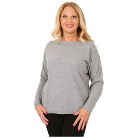 Cashmerelike Damen-Pullover U-Boot-Kragen grau