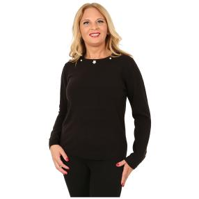 Cashmerelike Damen-Pullover Perlendekor schwarz