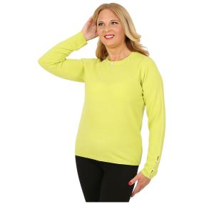 Cashmerelike Damen-Pullover Perlendekor hellgrün