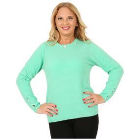 Cashmerelike Damen-Pullover Perlendekor mint