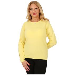 Cashmerelike Damen-Pullover Perlendekor hellgelb