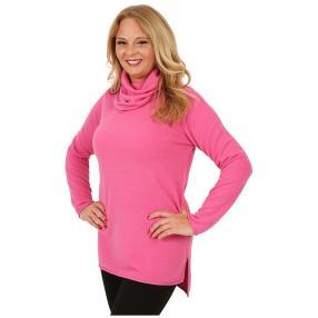 Cashmerelike Damen-Longpullover Rollkragen pink