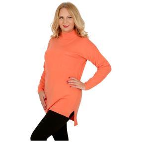 Cashmerelike Damen-Pullover Stehkragen, koralle