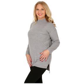 Cashmerelike Damen-Pullover Stehkragen grau