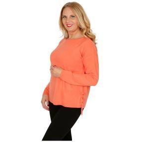 Cashmerelike Damen-Pullover mit Bändern koralle