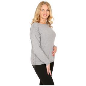 Cashmerelike Damen-Pullover mit Bändern grau