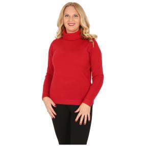 Cashmerelike Damen-Pullover Rollkragen rot