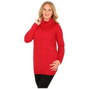 Cashmerelike Damen-Longpullover, rot
