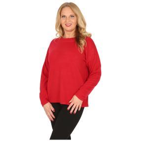 Cashmerelike Damen-Pullover mit Strass rot