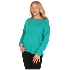 Cashmerelike Damen-Pullover mit Strass smaragd