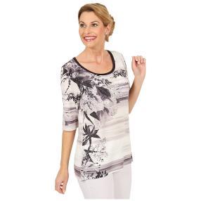 BRILLIANTSHIRTS Shirt 'Romance' weiß/schwarz/grau